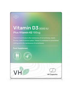 VH Vitamin D3 3000 IU and Vitamin K2 100ug MK7 90 Capsules