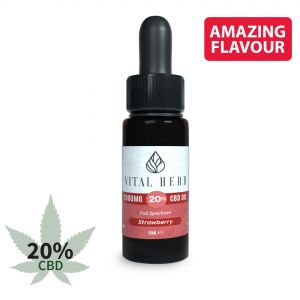 Vital Herb Full Spectrum Hemp CBD Oil - 2000mg 20% (10ml) Strawberry Flavour