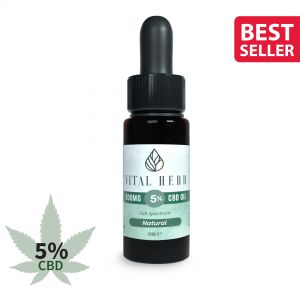 Vital Herb Full Spectrum Hemp CBD Oil - 500mg 5% (10ml) Natural Flavour